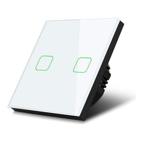 Włącznik dotykowy światła Maclean MCE703W podwójny, szklany, biały z kwadratowym przyciskiem wymiary 86x86mm, z podświetleniem p, MCE-703W