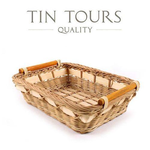 Tin tours sp.z o.o. Koszyk rattanowy z paskiem bambusowym 27x20x7h cm