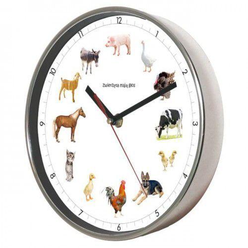 Zegar ścienny chromowany z głosami zwierząt, ATE2019ZW