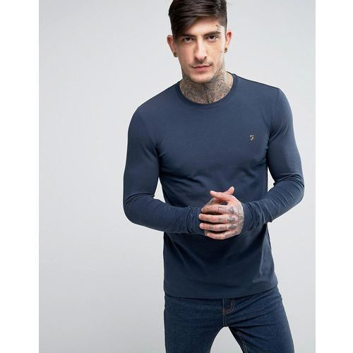 Farah Southall super slim fit logo long sleeve t-shirt in navy - Navy