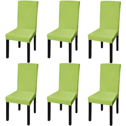 Vidaxl elastyczne pokrowce na krzesła w prostym stylu, 6 szt., zielone (8718475978787)