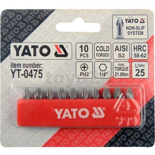Końcówki wkrętakowe ph2x25 mm, kpl. 10 szt. Yato YT-0475 - ZYSKAJ RABAT 30 ZŁ (5906083904752)