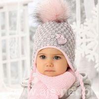 Ajs Komplet 38-403 czapka+szalik rozmiar: 40-42cm, kolor: różowy pudrowy, ajs