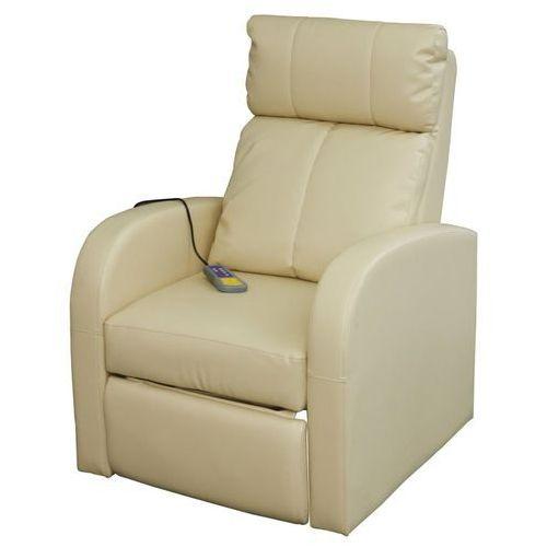 fotel z funkcją masażu, elektryczny, sterowany pilotem, kremowy marki Vidaxl