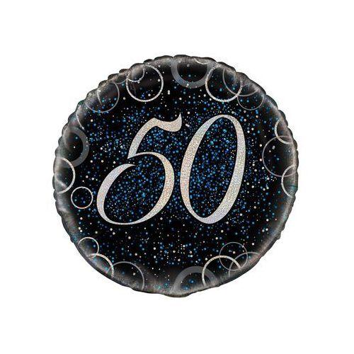 Balon foliowy błyszczący niebieski - 50tka - 47 cm - 1 szt. marki Unique