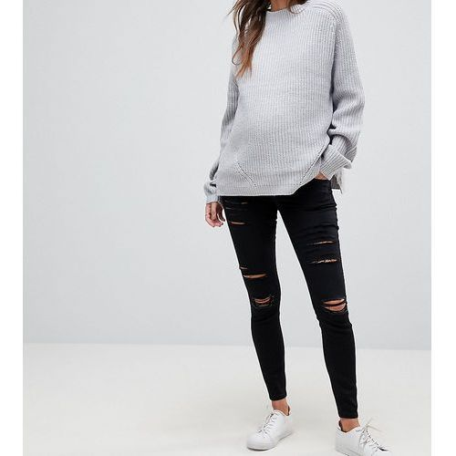 ASOS DESIGN Maternity Ridley high waist skinny jeans in black with shredded rips and under the bump waistband - Black