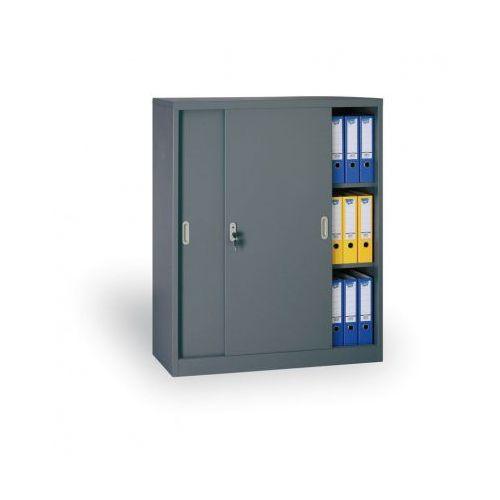 Metalowa szafa z przesuwnymi drzwiami, 1200 x 1000 x 450 mm, ciemnoszary marki B2b partner