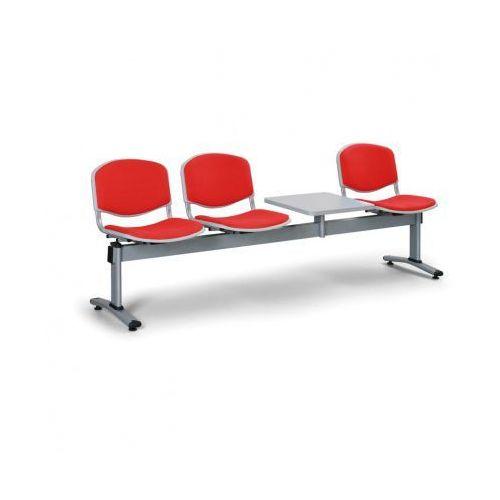 Euroseat Ławka do poczekalni livorno, tapicerowana 3 siedzenia + stołek, czerwony