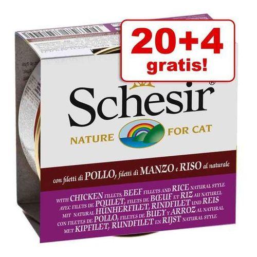 Schesir 20 + 4 gratis! natural z ryżem, 24 x 85 g - czysty tuńczyk i kurczak z ryżem