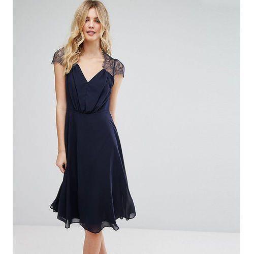Asos tall kate lace midi dress - navy