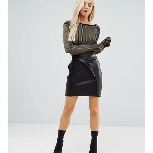 ASOS PETITE Textured Tulip Mini Skirt in Leather Look - Black, kolor czarny