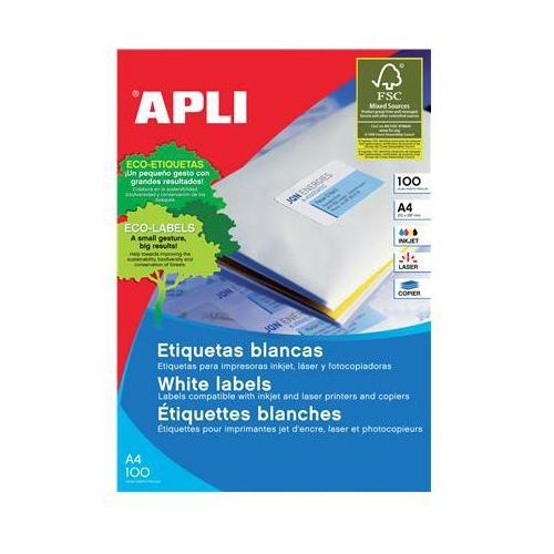 Apli Etykiety uniwersalne , 52,5x21,2mm, prostokątne, białe 100 ark. (8410782012849)