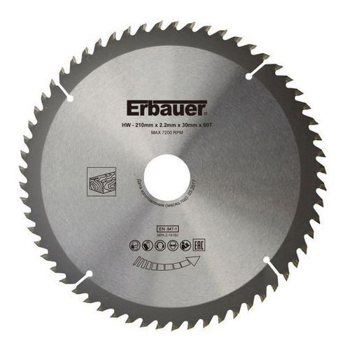 Tarcza do drewna Erbauer 210 x 30/25/20/16 mm 60T, TWTB2105