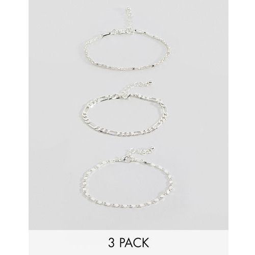 design bracelet pack of 3 with flat curb and tube chain detail in silver - silver marki Asos