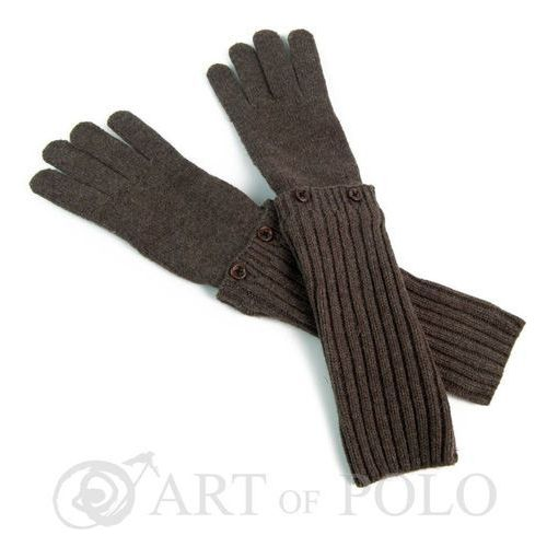 Brązowe uniwersalne rękawiczki 3 w 1 długie, krótkie, mitenki - brązowy marki Evangarda