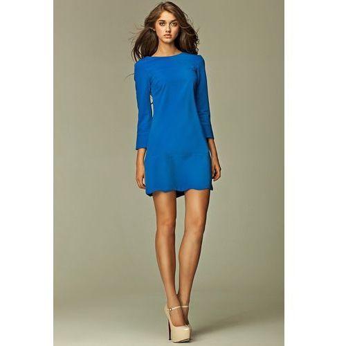 Intrygująca sukienka z zamkiem na plecach - niebieski - s28 marki Nife