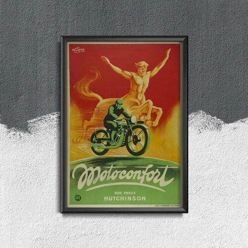 Plakat w stylu retro Plakat w stylu retro Motoconfort Sur Pneus Hutchinson