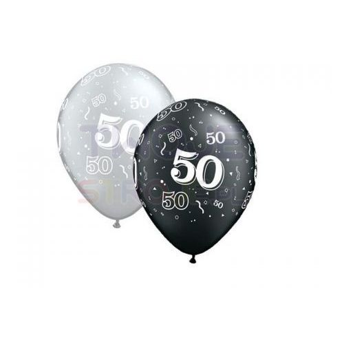 Twojestroje.pl Balon szary/czarny 50th birthday 27cm 1szt