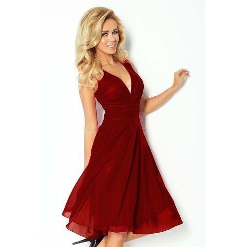 Bordowa Sukienka Wieczorowa z Szyfonu z Dekoltem V, C35-8dre