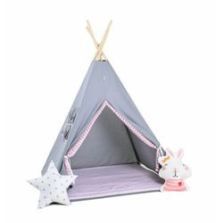 Zestaw, namiot tipi i kosz na zabawki - bąbelkowe marki Sowkadesign