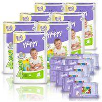 Pieluszki happy maxi 7x66 szt. + gratis 10x chusteczki nasączone happy marki Tzmo s.a.
