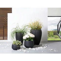 Doniczka czarna - ogrodowa - balkonowa - ozdobna - 37x37x30 cm - corrib wyprodukowany przez Beliani