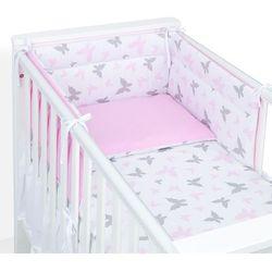 Mamo-tato 3-el dwustronna pościel dla niemowląt 100x135 motylki różowe / aplikacja róż