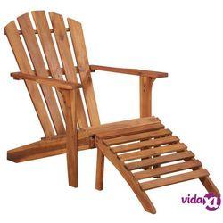 krzesło ogrodowe adirondack z podnóżkiem, lite drewno akacjowe marki Vidaxl