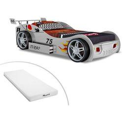 Vente-unique Łóżko w kształcie samochodu runner z szufladą - 90x200 cm - kolor biały + materac stelo kids 90x200