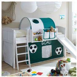 Ticaa kindermöbel Ticaa łóżko ze zjeżdżalnią ekki sosna white country goal kolor ciemnozielony/biały