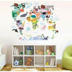 Naklejka Dziecięca mapa świata zwierzątka, 90 x 70 cm, 684889