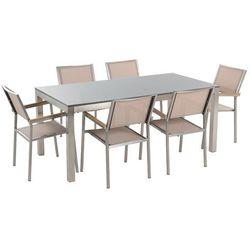 Beliani Meble ogrodowe - stół granitowy - cała płyta - 180 cm szary polerowany z 6 beżowymi krzesłami - grosseto (4260580923878)