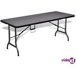 vidaXL Składany stolik, czarny 180x75x72 cm HDPE stylizowany na rattan