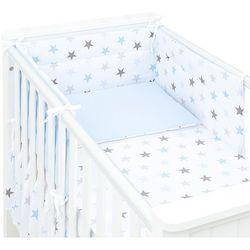 Mamo-tato 3-el dwustronna pościel dla niemowląt gwiazdki szare i niebieskie d / błękit do łóżeczka 70x140 cm