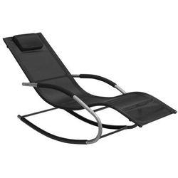 Leżak ogrodowy czarny tekstylny bujany CARANO (4260586353655)