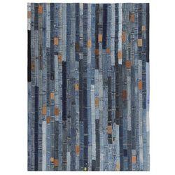 Patchworkowy dywanik z dżinsu, 80 x 150 cm, niebieski