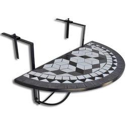vidaXL Półokrągły stolik balkonowy, biało-czarna mozaika (8718475874508)