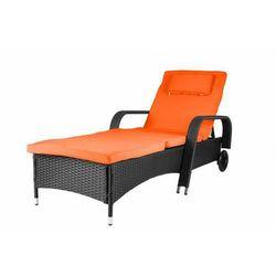 Luksusowy polyratanowy leżak ogrodowy na kołeczkach pomarańczowy