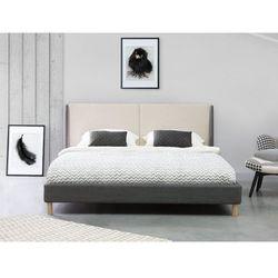Łóżko szaro-beżowe - 180x200 cm - łóżko tapicerowane - VALENCE (7105273961591)