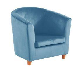 Fotel typu cabriolet dla dzieci BADIS z weluru — pastelowy niebieski