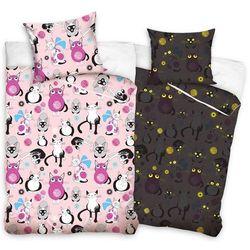 Tip trade dziecięca świecąca pościel bawełniana koty różowy, 140 x 200 cm, 70 x 80 cm marki Bedtex