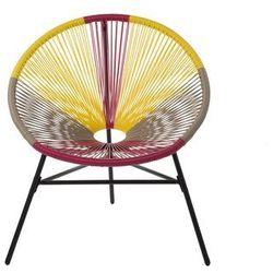 Beliani Zestaw 2 krzeseł rattanowych różowo-żółto-beżowe ACAPULCO (4260624113678)