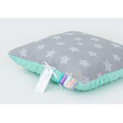 Mamo-tato poduszka minky dwustronna 30x40 gwiazdki bąbelkowe białe duże / miętowy
