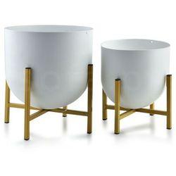 Sofa.pl Swen white&gold kpl. 2 osłonek 24xh26cm/18.5xh21cm