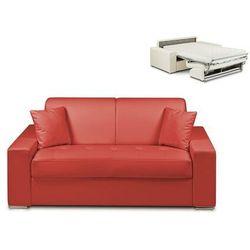 Vente-unique.pl 2-osobowa kanapa z ekspresowym mechanizmem rozkładania z materiału skóropodobnego emir - kolor: czerwony - miejsce do spania: 120 cm - materac 14 cm