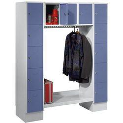 Szafa na garderobę, otwarta, wys. x szer. całk.: 1850x1500 mm, 13 półek, niebies