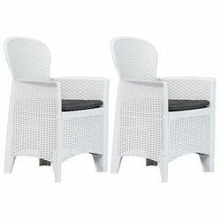 Elior Krzesła ogrodowe z poduszkami campos 2 szt - białe