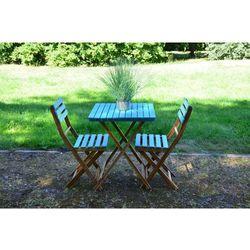 Zestaw ogrodowy błękitny bonita (stolik + krzesło x2) wyprodukowany przez Miloo