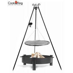 Zestaw 3w1 grill z kołowrotkiem stal czarna 50cm + palenisko haiti 60cm marki Cook&king
