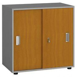 B2b partner Szafa biurowa z przesuwnymi drzwiami, 740 x 800 x 420 mm, czereśnia